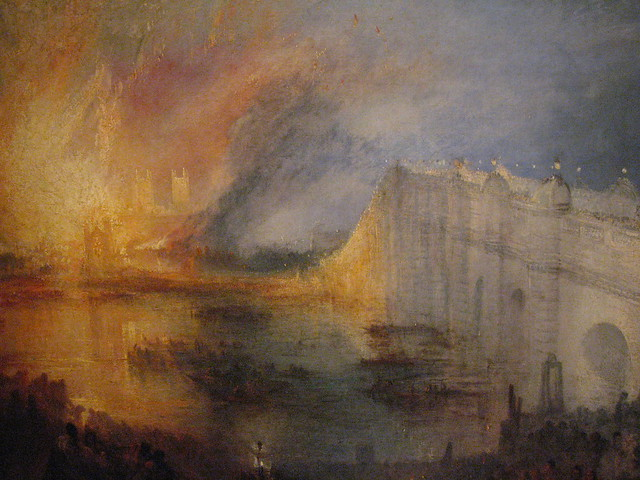The Burning of the houses of Parliament, October 16, 1834 by Turner