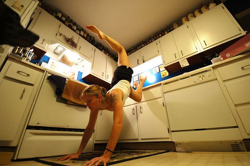 Kitchens! Not just for cooking anymore! Also good for improving balance and upper-body strength! | by J. Star