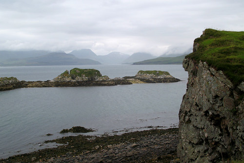 view from Dunscaith Castle ruins