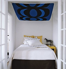Ideas for small bedrooms: Abstract art canopy, Domino magazine | by SarahKaron