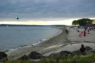 Kite Surfing Gray Overcast Warm Summer Evening Golden Ga