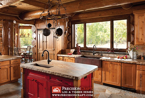 Handcrafted Log Home Kitchen | by PrecisionCraft Log & Timber Homes