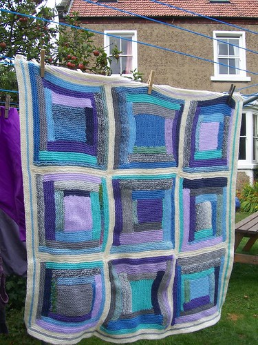 Blue log cabin knitted blanket | by Jane Barber 55