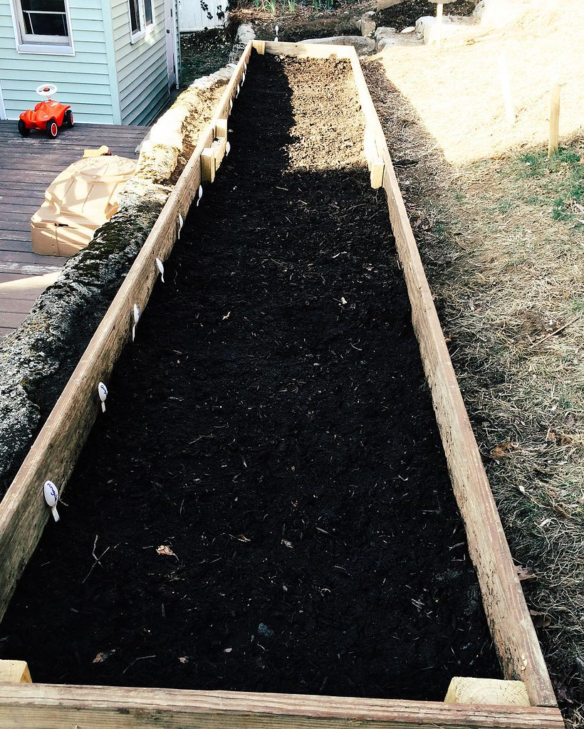 Garden beginning; the big bed almost fully seeded. For my next life, I plan to come back as a farmer. #garden #gardening #new #farmergirl #missedcalling