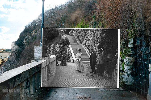 Budapest, I. Gellérthegy, Szent Gellért szobor alatti híd a vízesésnél fortepan_27749