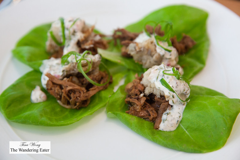 Pulled pork lettuce wrap, fried oysters, peanut miso