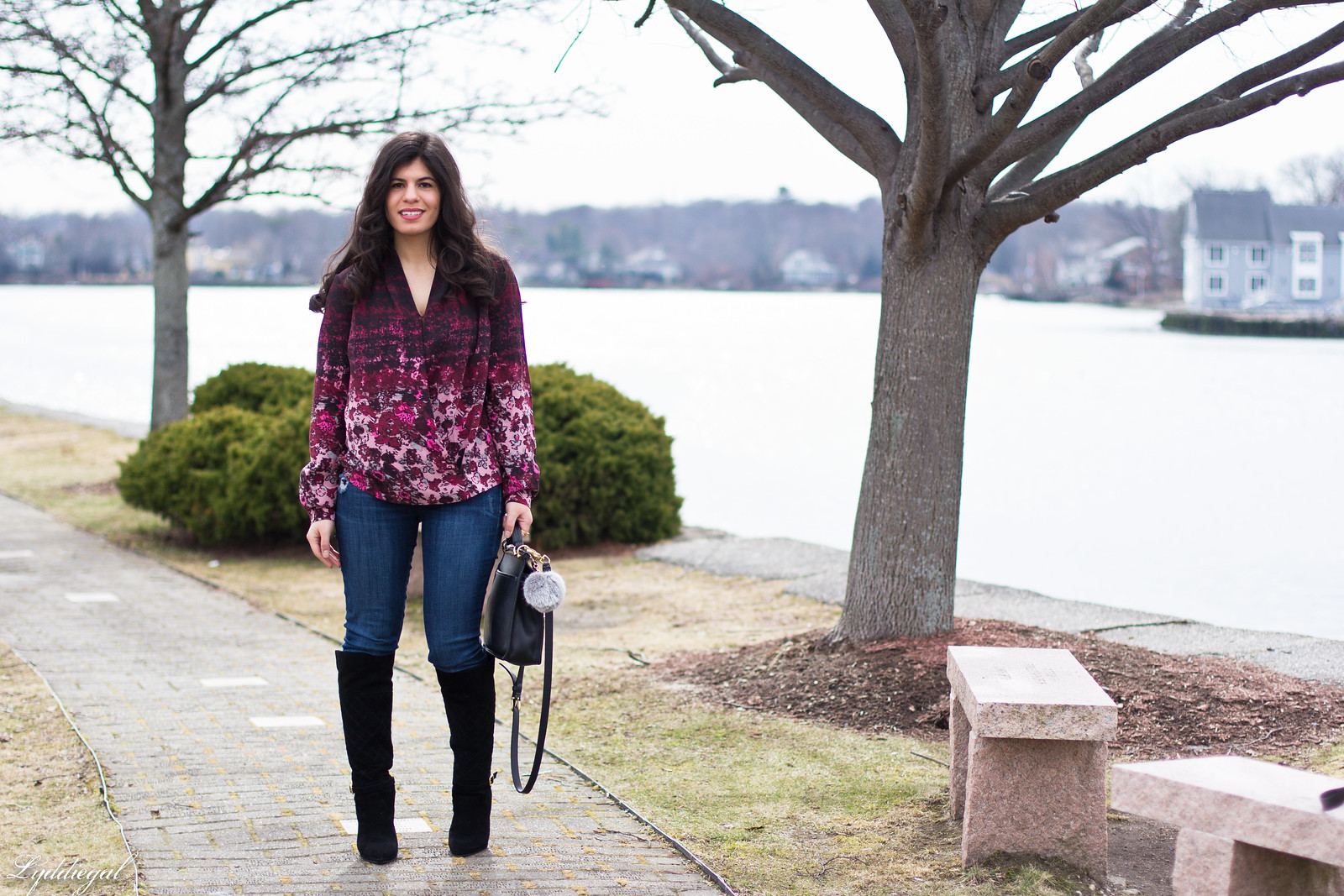 floral wrap blouse, denim, black boots, coach bag-4.jpg