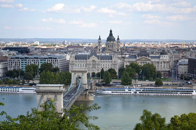Budapest Overlooking the Chain Bridge and St. Stephen's Basilica