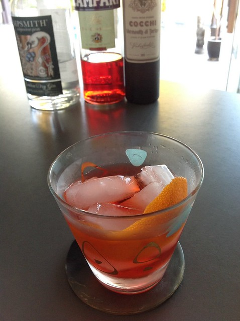 Negroni with Sipsmith London dry gin, Campari, Cocchi vermouth di Torino #cocktail #cocktails #craftcocktails #negroni #gin #campari