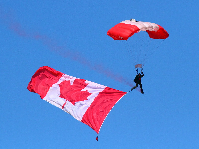 IMG_7629 Flag Drop and Anthem by Canadian SkyHawks Parachute Team