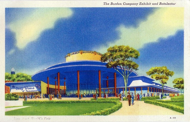 Vintage 1939 New York World's Fair Postcard - The Borden Company Exhibit And Rotolactor, Printed In USA