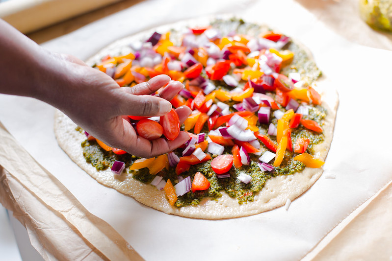 Herb Pesto Vegetable Pizza