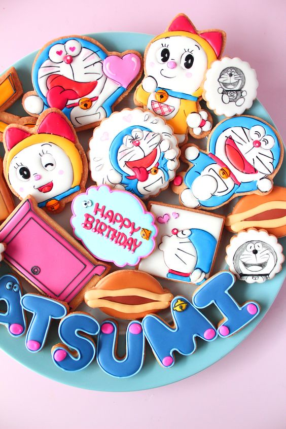 Doraemon icing cookies by Y&Csweets