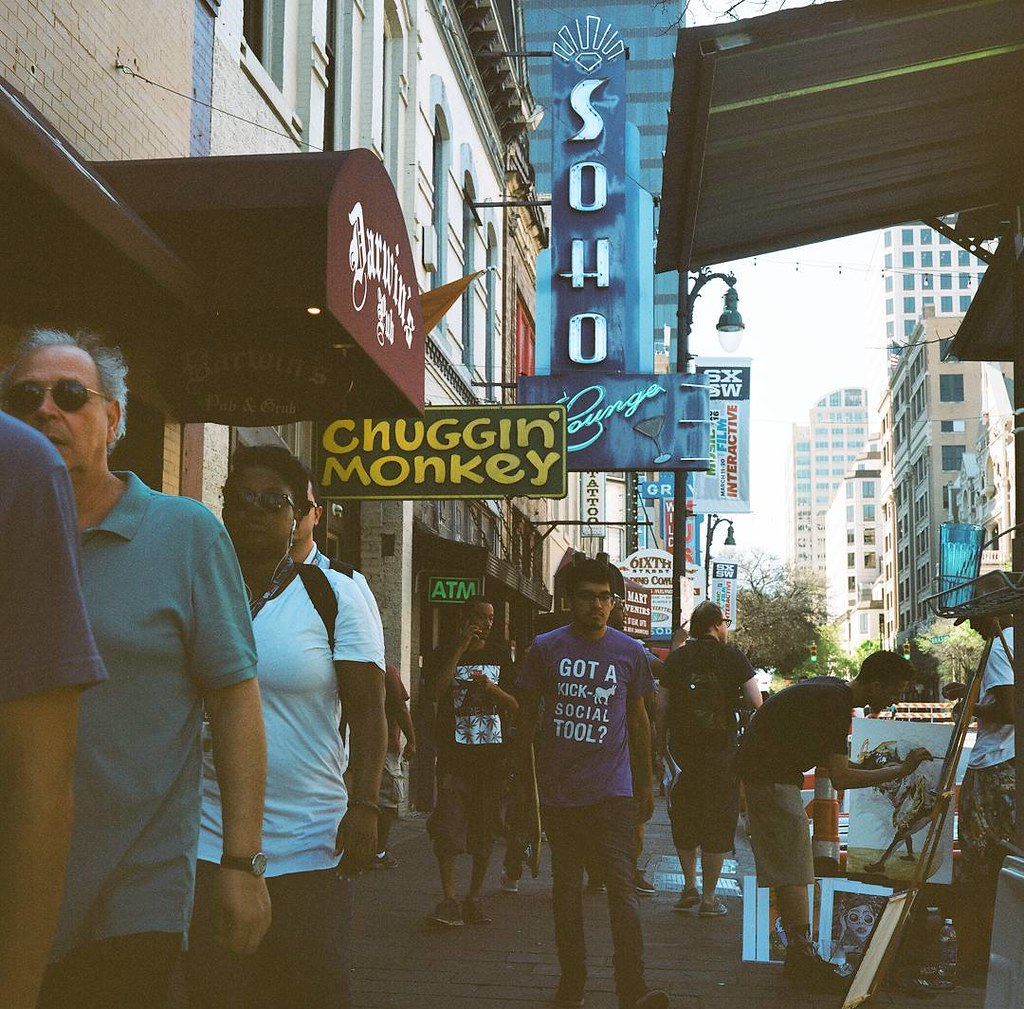 My #SXSW photos have been developed. Love this shot from Sixth Street. The irony of taking this photo with my film camera and this guy's shirt males me very happy.