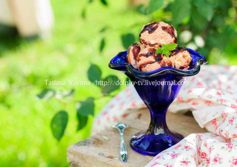 Chocolate Ice Cream with Fudge Sauce in a Blue Bowl
