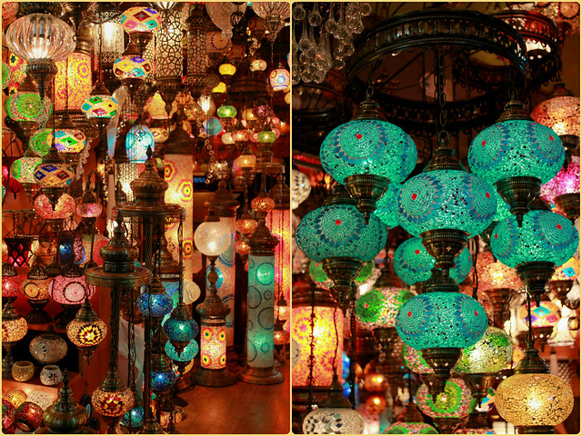 Colourful glass lanterns