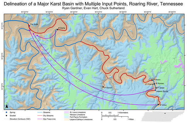Delineation of a Major Karst Basin with Multiple Input Points, Roaring River, Tennessee - Map
