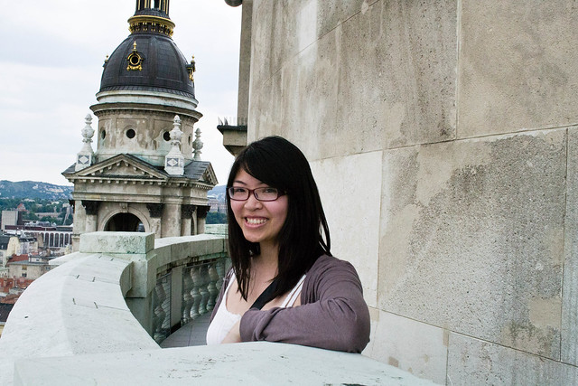 Adelina on top of St. Stephen's Basilica in Budapest