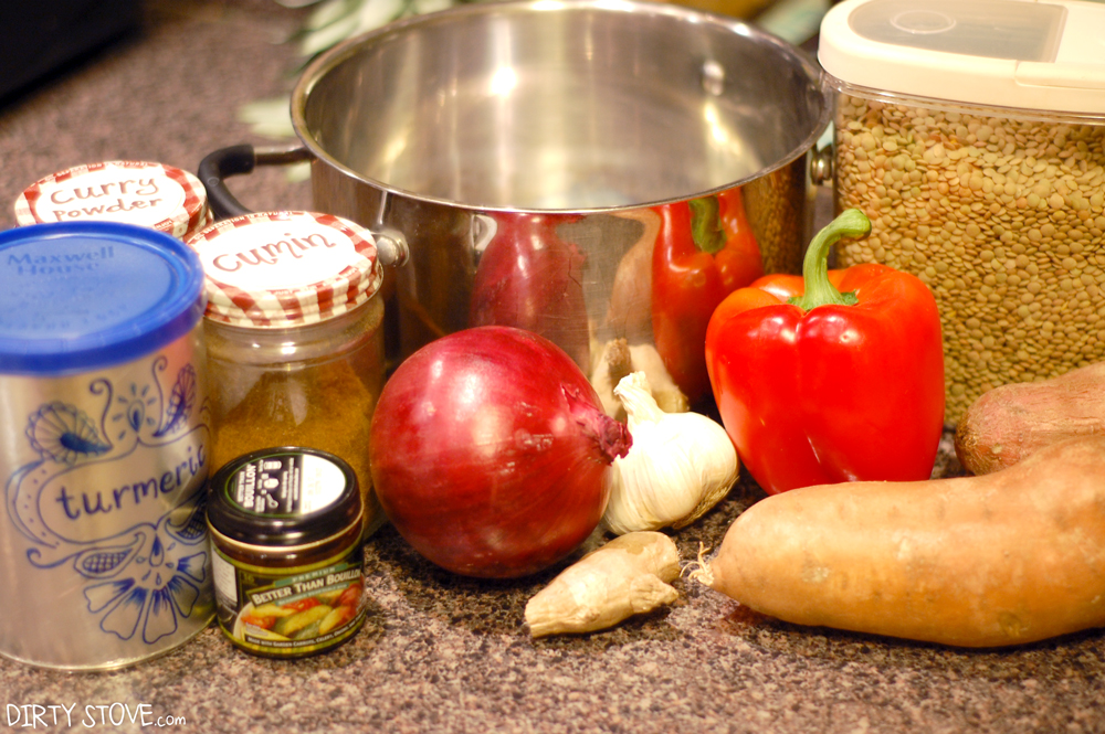 Simple ingredients for this vegan Lentil Ginger Stew recipe