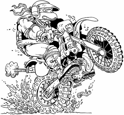 "Peter Laird's 'Blast from The Past'  # 18 :: ""Team Mirage"" - 'Hare Scrambles Turtle' by Jim Lawson (( 1992 ))  [[ courtesy of Peter Laird ]] 