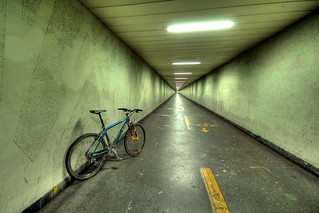 a green bike in the green tunnel; waiting for something in an other color | by Toni_V