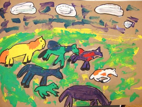 Bark Painting Horses Monte Gardens Elementary School