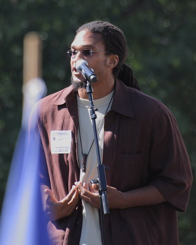 Etan Thomas, delivering anti-war poetry | by ragesoss