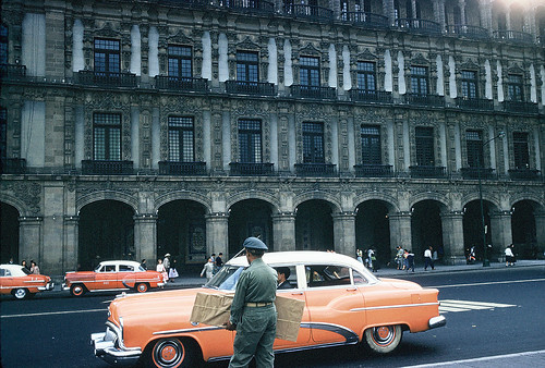 Taxis and department store, Zocalo, Mexico City, December 1958 | by lreed76