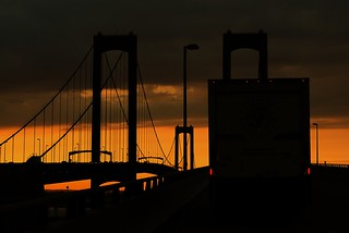 Delaware Bridge At Sunset - Driving Behind A truck | by Bob Jagendorf