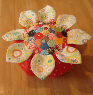 Pincushion with tiny hand stitched patchwork. | by duniris