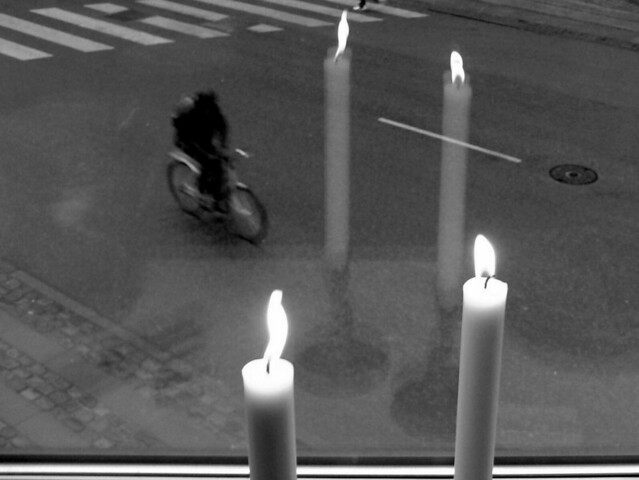 Four Candles, A Zebra Crossing and a Bike