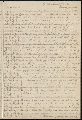 From Anne Warren Weston to Caroline Weston; Monday, August 7, 1837. | by Boston Public Library
