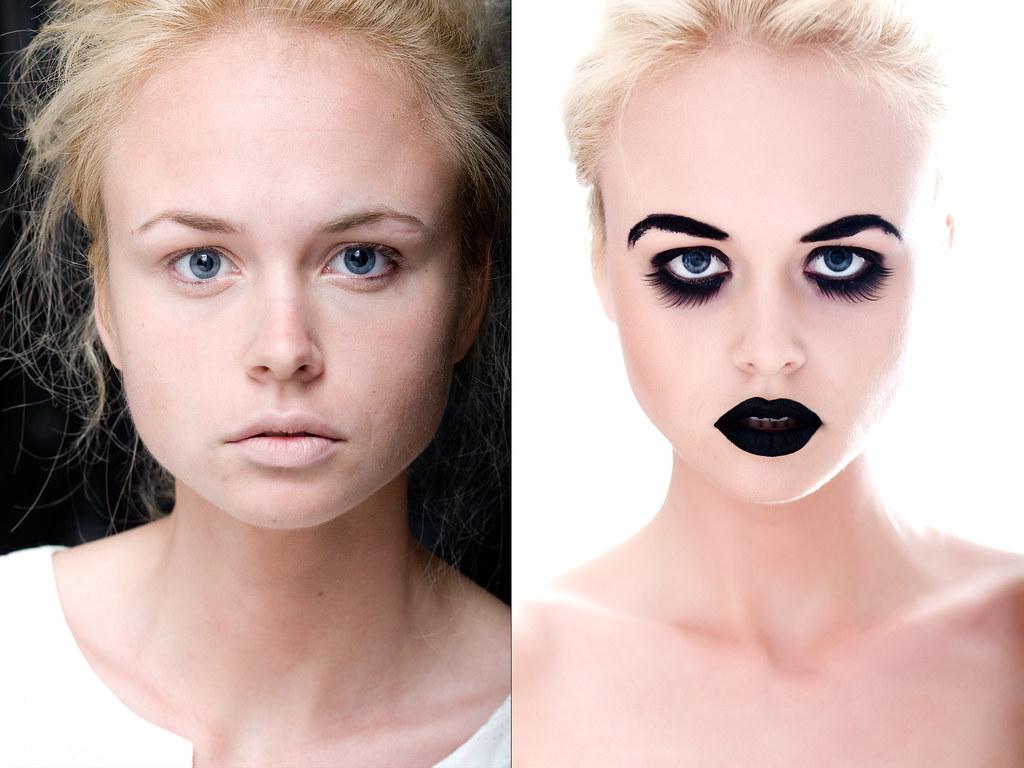 Pirms un pēc makeup