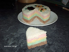 a piece of fluffy rainbow rice cake made by flower | by maangchi