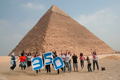 Jumping 350 at the Great Pyramids, Egypt | by 350.org