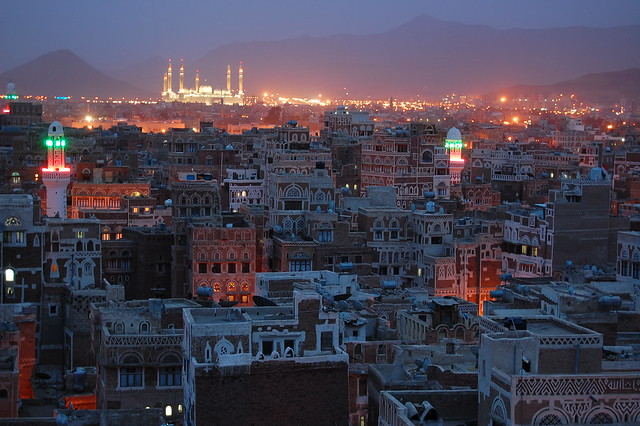 A view of Sanaa Yemen, right after sunset