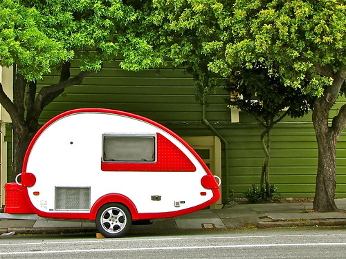 Red and white travel trailer | by 2composers