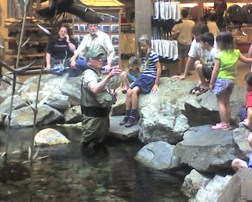Fishing demo inside ll bean there is a fish pond for Ll bean fishing