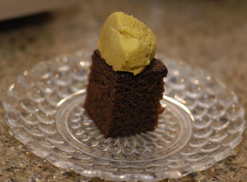 black sticky gingerbread with pumpkin mousse | by gay.goy.gourmet