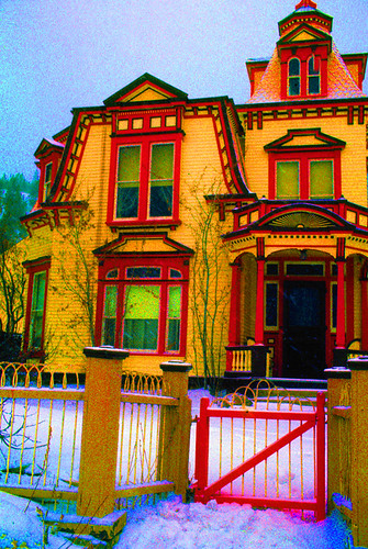Art homage peter max victorian gingerbread house ghost for Georgetown home