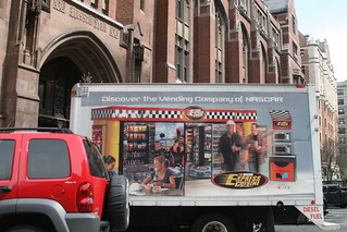 """Discover the vending company of NASCAR"" outside Teachers College, Columbia University, New York 