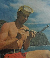 1950s Man In Swim Trunks Goggles Swim Shorts Shirtless  Beach | by Christian Montone