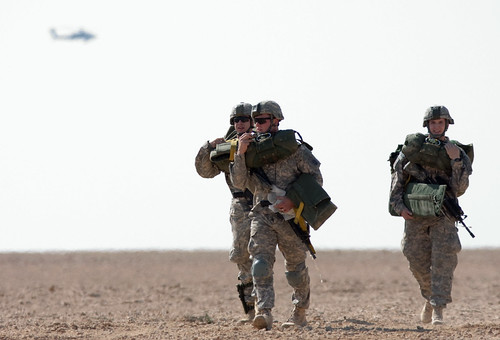 Three paratroopers on Asad Airbase, Iraq | by The U.S. Army
