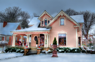 The Pink House Christmas Snow | by wowphotoshdr
