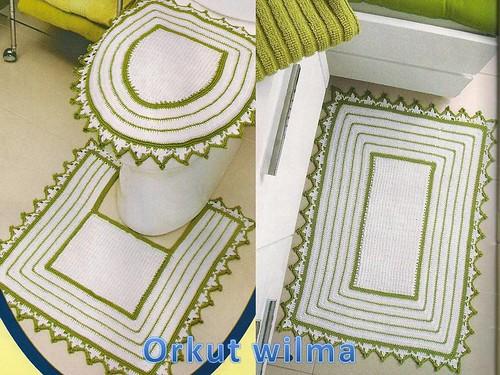 Jogo De Banheiro Verde E Branco : Jogo p banheiro branco e verde de tapetes croch?