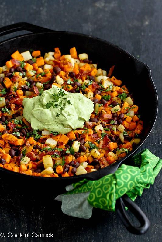 Sweet Potato Hash Recipe with Creamy California Avocado Sauce   cookincanuck.com #sweetpotato #avocado #breakfast