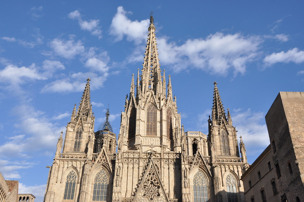 Barcelona. Cathedral church of the Holy Cross and Saint Eulalia. Neo-Gothic facade. Built in 1887-1890 by Josep Oriol Mestres, architect (according to a 15th. Centrury project). Spire built in 1906-1912 by August Font, architect