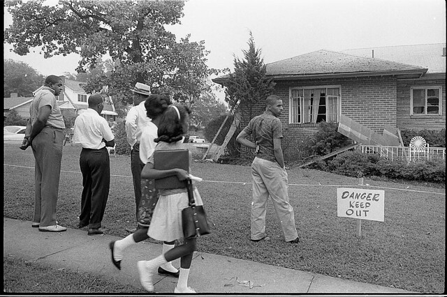[Group of African Americans viewing the bomb-damaged home of Arthur Shores, NAACP attorney, Birmingham, Alabama] (LOC)