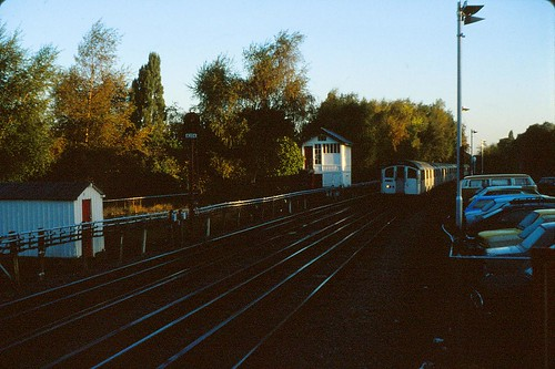 London Transport 1959 tube stock train approaching Woodside Park station