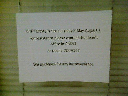 Oral History is closed today Friday August 1. | by Zack Sheppard